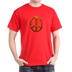 Orange Sculpted Stone Peace Black T-Shirt
