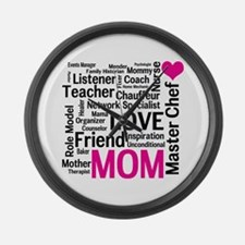 Mom on Duty 24 Hours a Day - Large Wall Clock