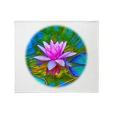 Waterlily, Lotus, Lilypad Throw Blanket