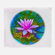 Waterlily, Lotus, Lilypad Throw Blanket