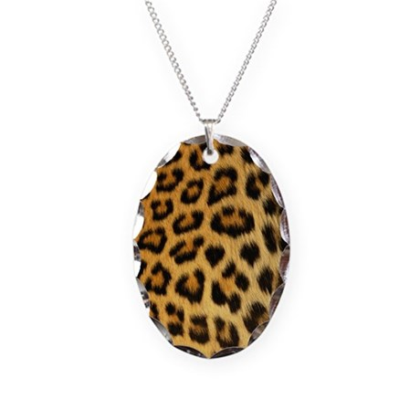 Leopard print Necklace Oval Charm