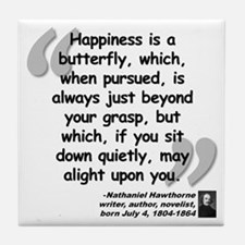Hawthorne Happiness Quote Tile Coaster