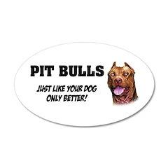 Pit Bulls 22x14 Oval Wall Peel