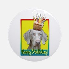 Birthday Cupcake - Weimie Ornament (Round)