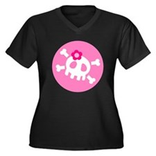 Pink Skull Women's Plus Size V-Neck Dark T-Shirt