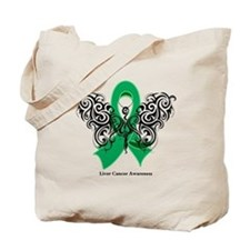 Liver Cancer Tribal Butterfly Tote Bag