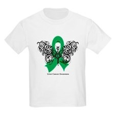 Liver Cancer Tribal Butterfly T-Shirt