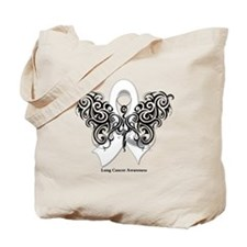 Lung Cancer Tribal Butterfly Tote Bag