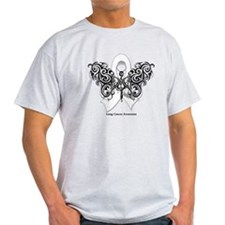 Lung Cancer Tribal Butterfly T-Shirt