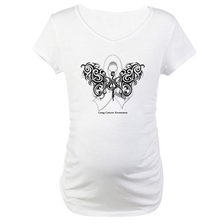 Lung Cancer Tribal Butterfly Maternity T-Shirt