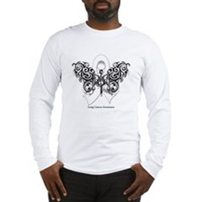 Lung Cancer Tribal Butterfly Long Sleeve T-Shirt