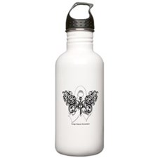 Lung Cancer Tribal Butterfly Water Bottle