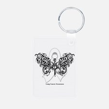 Lung Cancer Tribal Butterfly Aluminum Photo Keycha