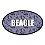 Blue Floral Beagle Oval Sticker