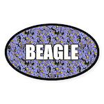 Blue Floral Beagle Oval Sticker