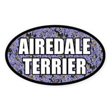 Blue Floral Airedale Terrier Oval Decal