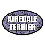 Blue Floral Airedale Terrier Oval Sticker