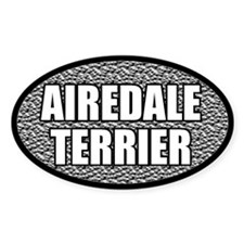 Silver Metallic Airedale Terrier Oval Decal