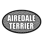 Silver Metallic Airedale Terrier Oval Sticker