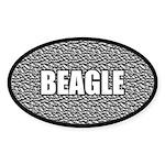 Silver Metallic Beagle Oval Sticker