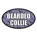 Blue Floral Bearded Collie Oval Sticker