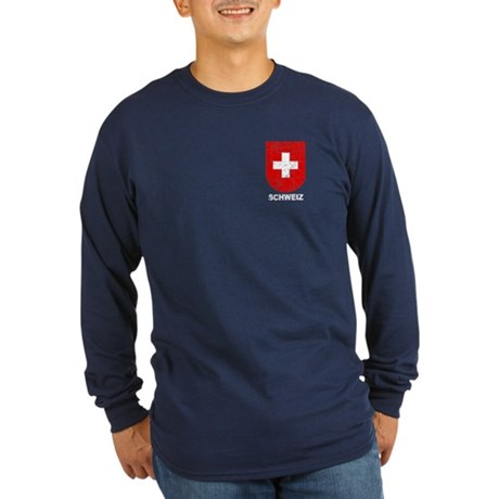 Schweiz Switzerland Shield Long Sleeve Dark T-Shir