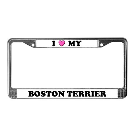I Heart My Boston Terrier License Plate Frame