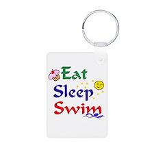 Eat Sleep Swim Aluminum Photo Keychain