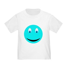 Cyan Smiley Face T