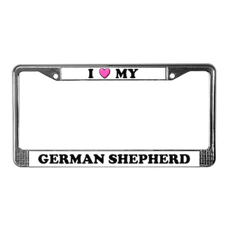 I Heart My German Shepherd License Plate Frame