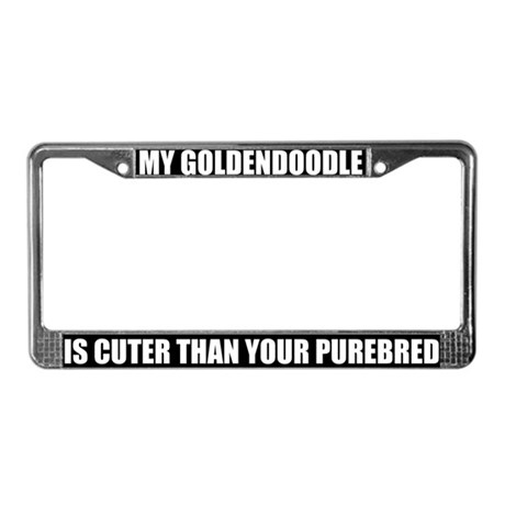 Cute Goldendoodle License Plate Frame