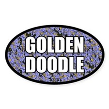 Blue Floral Goldendoodle Oval Decal