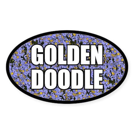Blue Floral Goldendoodle Oval Sticker