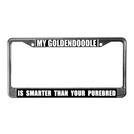 Smart Goldendoodle License Plate Frame