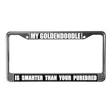 Smart Goldendoodle License Plate Frame