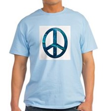 Turquoise Sculpted Stone Peace Symbol Ash Grey T-S