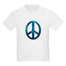 Turquoise Sculpted Stone Peace Symbol Kids T-Shirt