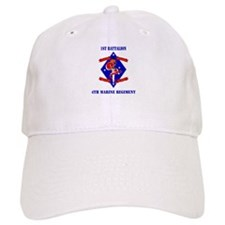 1st Battalion - 4th Marines with Text Baseball Cap