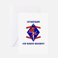 1st Battalion - 4th Marines with Text Greeting Car