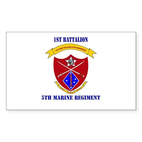 1st Battalion 5th Marines with Text Sticker (Recta