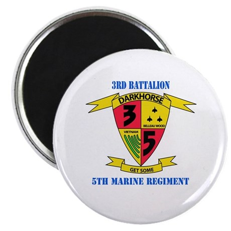 """3rd Battalion 5th Marines with Text 2.25"""" Magnet ("""