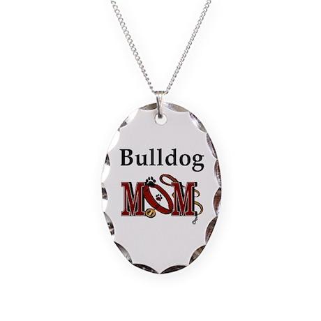 Bulldog Mom Necklace Oval Charm