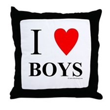 "I ""Heart"" Boys Throw Pillow"
