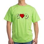 God is Love Green T-Shirt