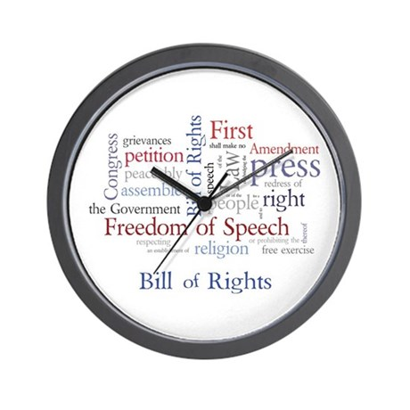Freedom of Speech First Amendment Wall Clock