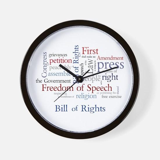 Freedom of Speech First Amendment Wall Clock