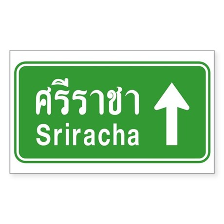 Sriracha Highway Sign Sticker (Rectangle)