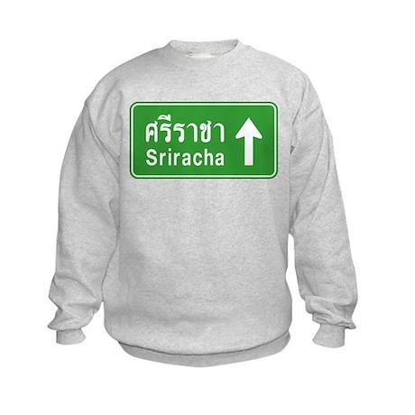 Sriracha Highway Sign Kids Sweatshirt