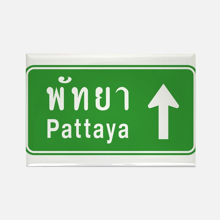 Pattaya Thailand Highway Sign Rectangle Magnet