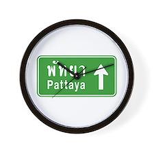 Pattaya Thailand Highway Sign Wall Clock